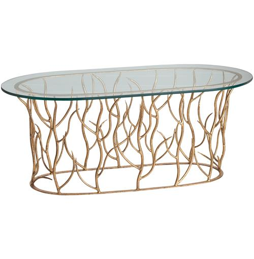 Alden Iron Polished Glass Gold Leaf Coffee Table | Kathy Kuo Home