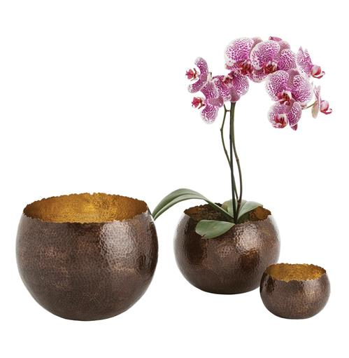 Alessandria Bronze Polished Brass Hammered Bowls - Set of 3 | Kathy Kuo Home