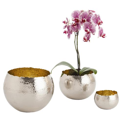 Arteriors Alessandria Nickel Hammered Brass Round Bowls - Set of 3 | Kathy Kuo Home