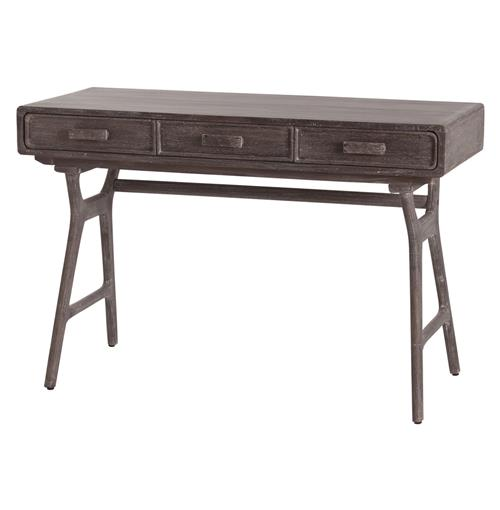 Phillip Mushroom Industrial Wooden 3 Drawer Desk | Kathy Kuo Home