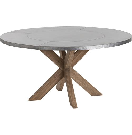 Halton Industrial Loft Galvanized Iron Wood Circular Dining Table