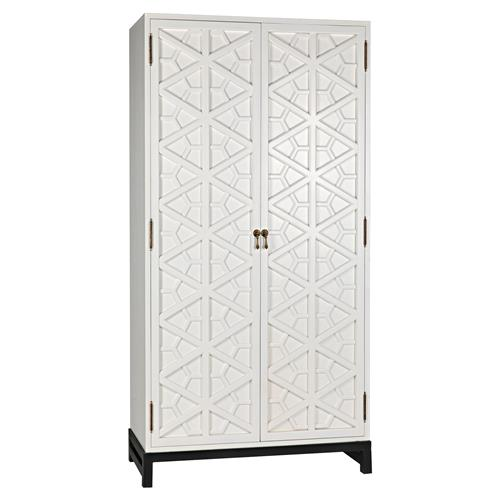 Noir Maharadshcha Global Bazaar White Wood Hexagonal Pattern Cabinet | Kathy Kuo Home