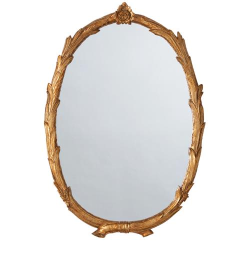 Laurel Regency Antiqued Gold Leaf Branch Flower Oval Mirror | Kathy Kuo Home