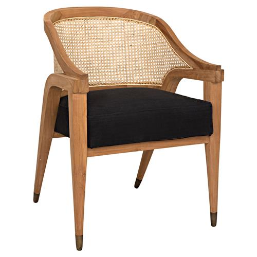 Noir Chloe Mid Century Modern Brown Cane Back Upholstered Dining Arm Chair | Kathy Kuo Home