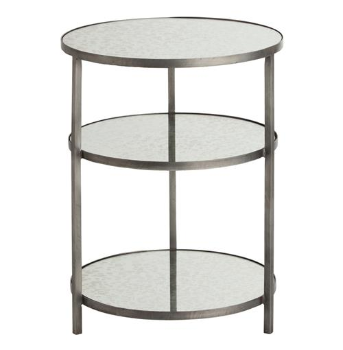 Percy Round 3 Tiered Contemporary Mirrored Zinc End Table | Kathy Kuo Home
