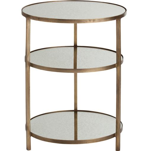 Percy Tiered Contemporary Mirrored Antique Brass End Table | Kathy Kuo Home