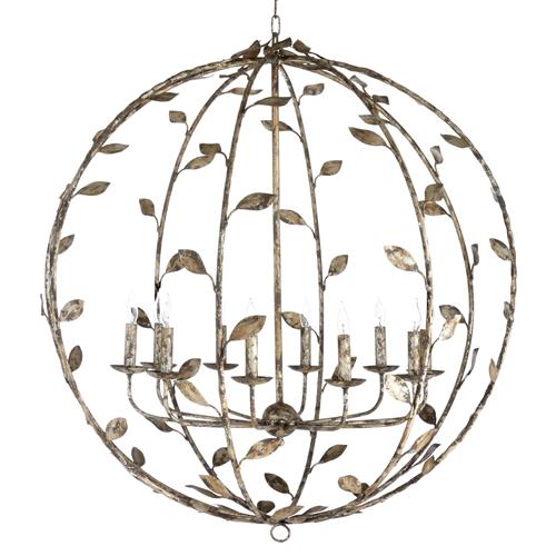 Hazel French Rustic Silver Leaves Globe Chandelier | Kathy Kuo Home
