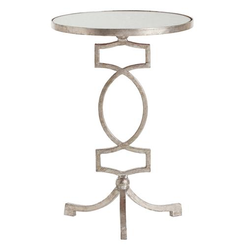 Arteriors Cooper Silver Leaf Hollywood Regency Mirror Accent Side Table | Kathy Kuo Home
