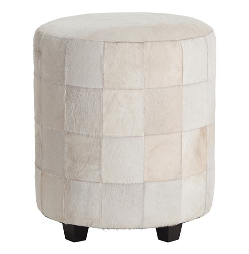 Wimberely Patchwork White Leather Round Ottoman Footrest | Kathy Kuo Home