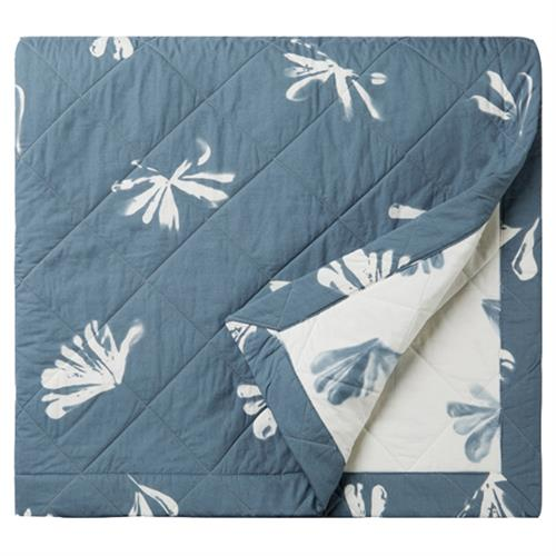 Alma by Sferra Modern Alumbra Quilted Coverlet - Queen Blue Snow | Kathy Kuo Home