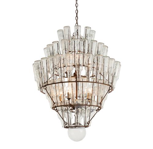 Arteriors Canton Rustic Iron Vintage Glass Bottle Chandelier | Kathy Kuo Home