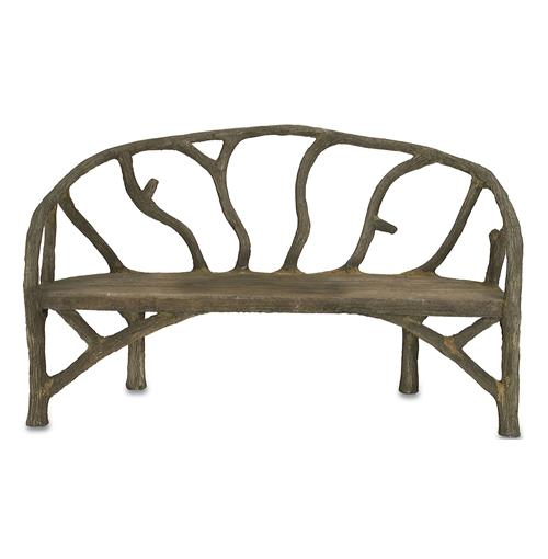 Rustic Sculpted Tree Branch Faux Bois Bench | Kathy Kuo Home