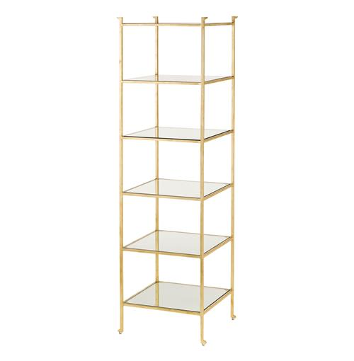 Classic Hollywood Regency Gold Leaf Narrow Etagere Display Shelf | Kathy Kuo Home