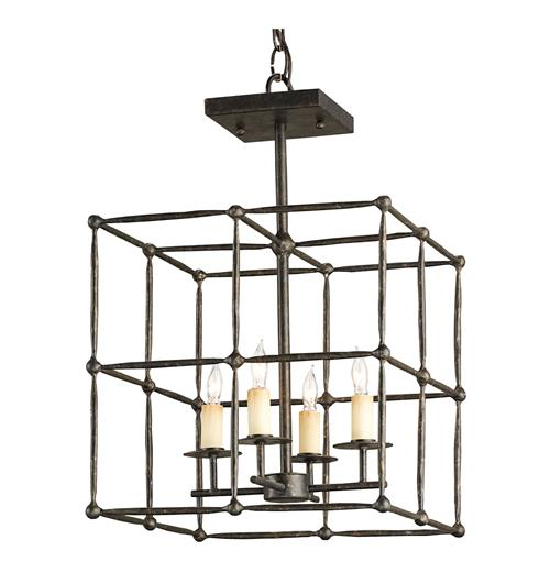 Industrial Loft Rustic Square Iron Cage Semi Flush Ceiling Mount Light | Kathy Kuo Home
