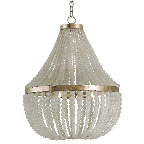 Edisto Hollywood Regency Style White Beaded Chandelier | Kathy Kuo Home