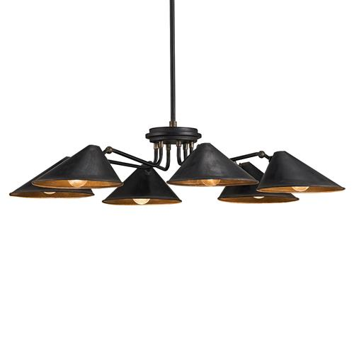 Claire Mid Century Modern Black Iron 6 Light Chandelier | Kathy Kuo Home