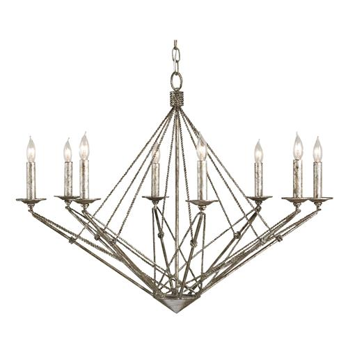 Verrazano Antique Silver 8 Light Geometric Chandelier | Kathy Kuo Home