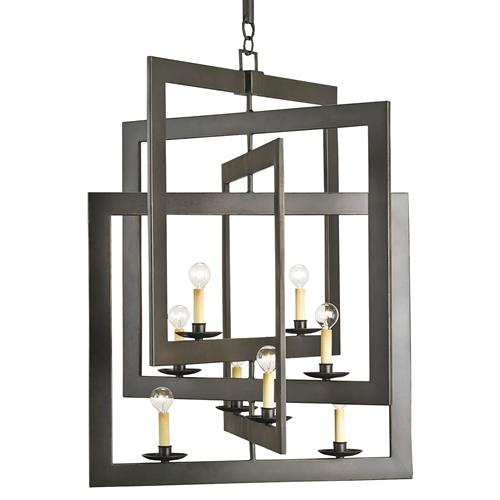 Modern Industrial Geometric 8 Light Pendant Chandelier | Kathy Kuo Home