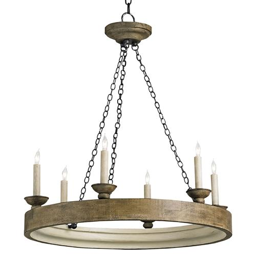 Smokewood Rustic Lodge Crackle 6 Light Chandelier | Kathy Kuo Home