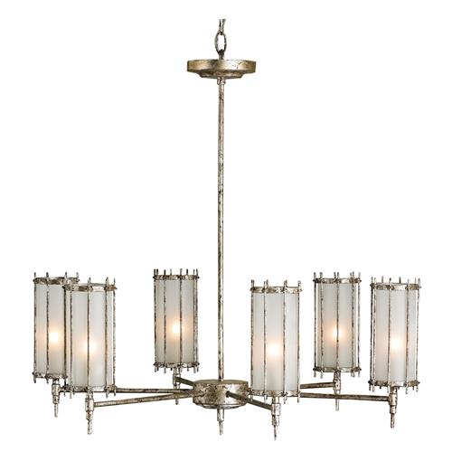 Annatto Antique Silver 6 Light Frosted Glass Chandelier | Kathy Kuo Home