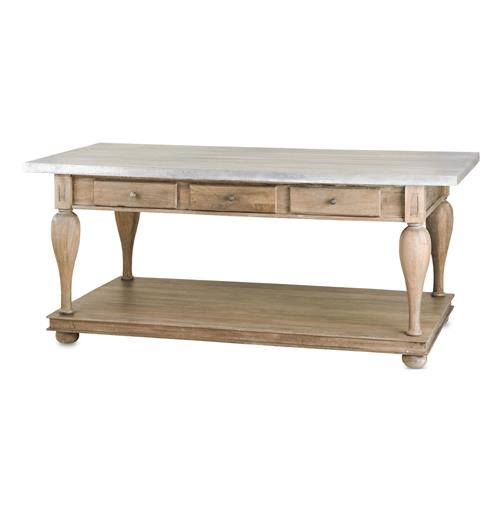 French Country Balustrade Antique Walnut Kitchen Island Console Table- L | Kathy Kuo Home