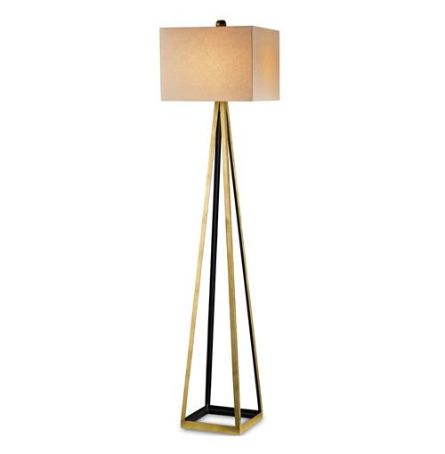 Hollywood Regency Gold Leaf Satin Floor Lamp | Kathy Kuo Home