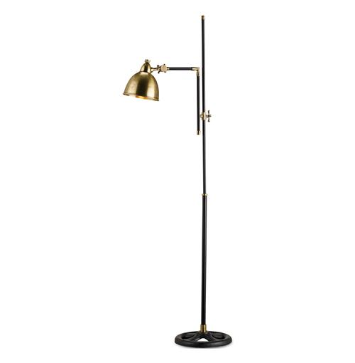 Vintage Brass Black Adjustable Floor Lamp | Kathy Kuo Home