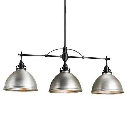 Cala Industrial Loft Triple Dome Brushed Nickel Pendant | Kathy Kuo Home