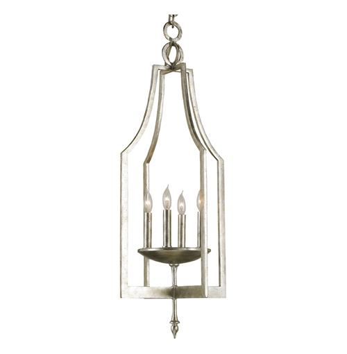 Contemporary Petite Silver 4 Light Hallway Pendant Chandelier | Kathy Kuo Home