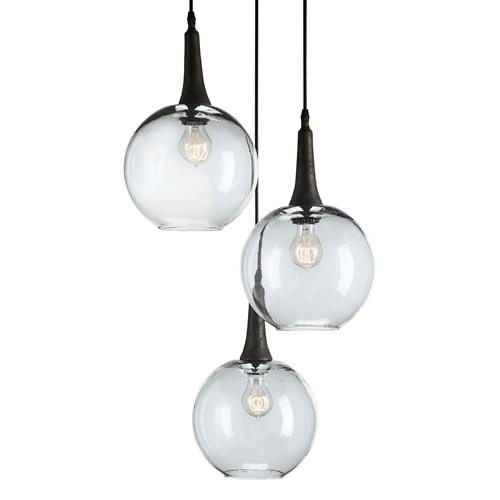 Emery Modern Trio Adjustable Round Glass Pendant Light | Kathy Kuo Home