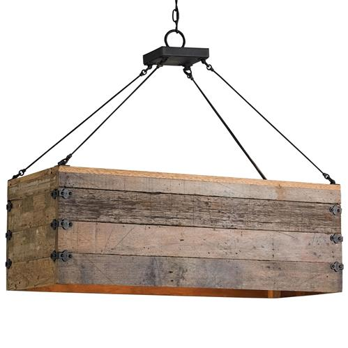Natural Rustic Lodge Rectangular Wood Cart 3 Light Island Pendant | Kathy Kuo Home