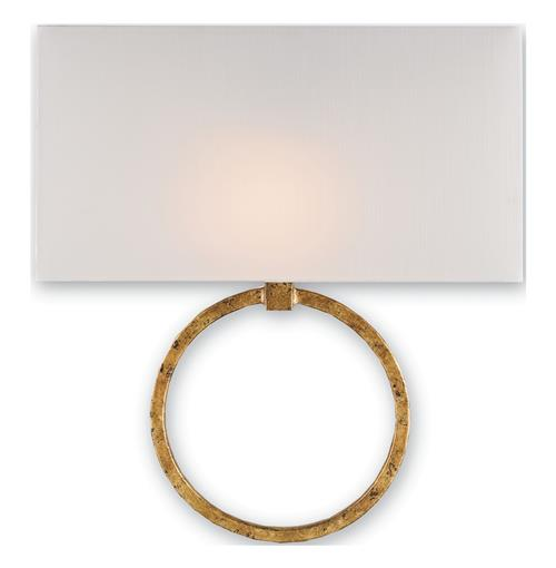 Infinity Circle Contemporary Gold Leaf Wall Sconce | Kathy Kuo Home