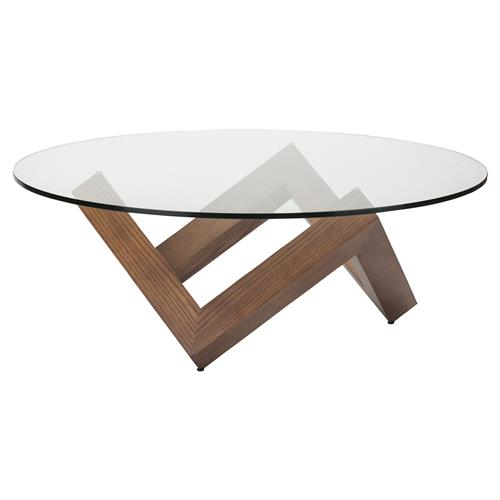 Colin Mid Century Modern Brown Wood, Round Glass Coffee Table Modern
