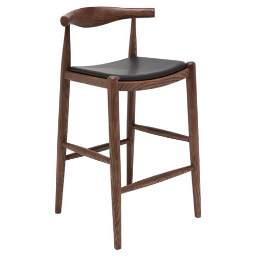 Katelyn Mid Century Modern Black Leather Seat Brown Scandinavian Counter Stool | Kathy Kuo Home