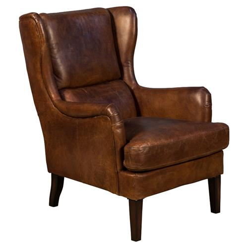 Strange Kimberley Mid Century Modern Brown Leather Upholstered Wing Back Arm Chair Pabps2019 Chair Design Images Pabps2019Com