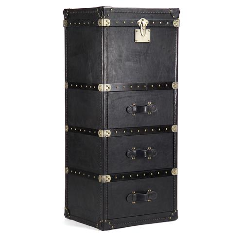 British Industrial Black Leather Masculine Floor Trunk Dresser | Kathy Kuo Home