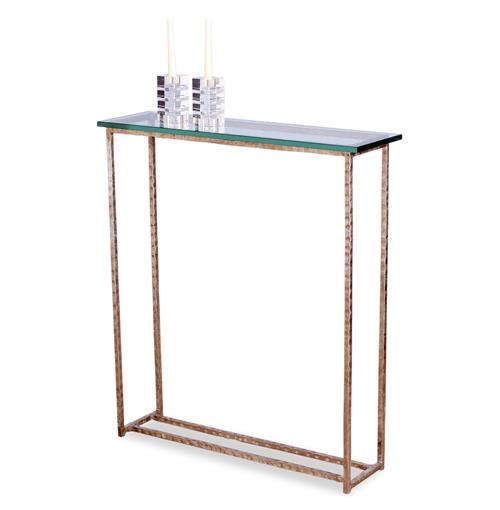 Edland Modern Silver Leaf Glass Console Sofa Table | Kathy Kuo Home