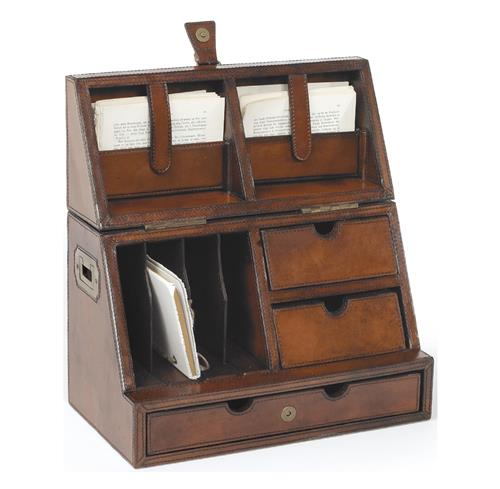 Rustic Leather Brass Secretary Desktop Organizer | Kathy Kuo Home