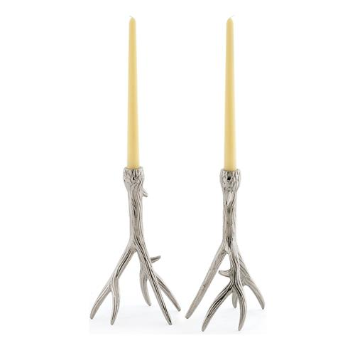 Rustic Country Glam Polished Nickel Antler Outback Candleholders | Kathy Kuo Home