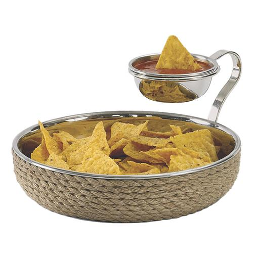Country Cottage Nickel Rope Coastal Chip and Dip Bowl | Kathy Kuo Home