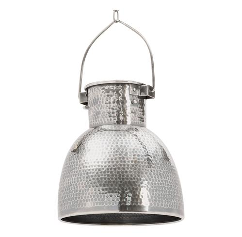 Rustic Lodge Hammered Antiqued Silver Pocked Pendant Light | Kathy Kuo Home