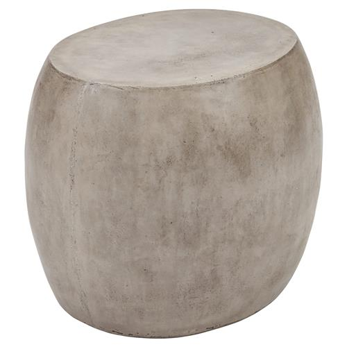 Roma Rustic Lodge Oval Grey Concrete Outdoor Side End Table | Kathy Kuo Home