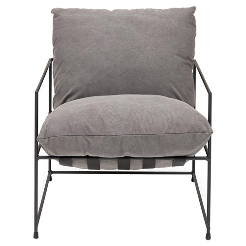 Tommy Modern Classic Black Steel Frame Grey Cushion Seat Living Room Chair | Kathy Kuo Home