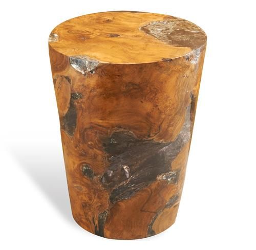 Trinity Modern Rustic Chunky Teak Wood Column Side Table | Kathy Kuo Home