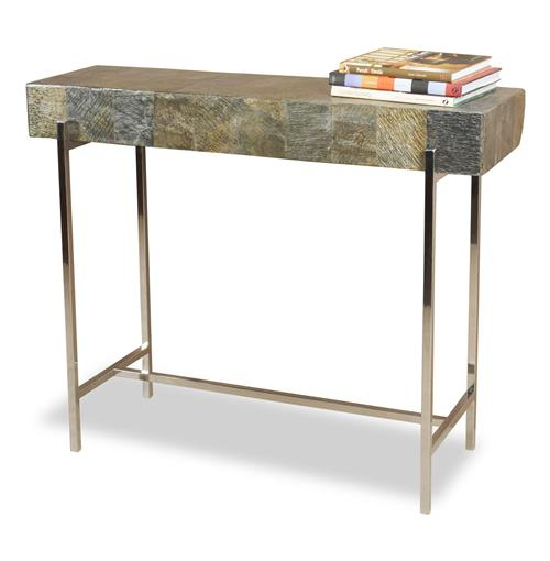 Alec Modern Rustic Chunky Stone Steel Console Table | Kathy Kuo Home