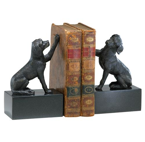 Humphrey Labrador Retriever Dog Iron Marble Bookends | Kathy Kuo Home