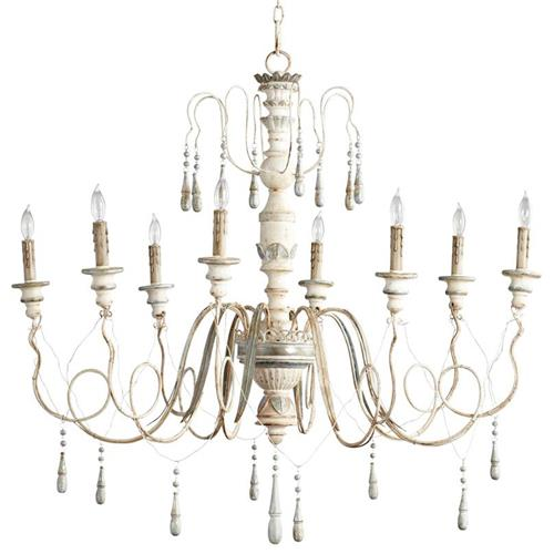 Chantilly French Country Parisian Blue White 8 Light Chandelier | Kathy Kuo Home