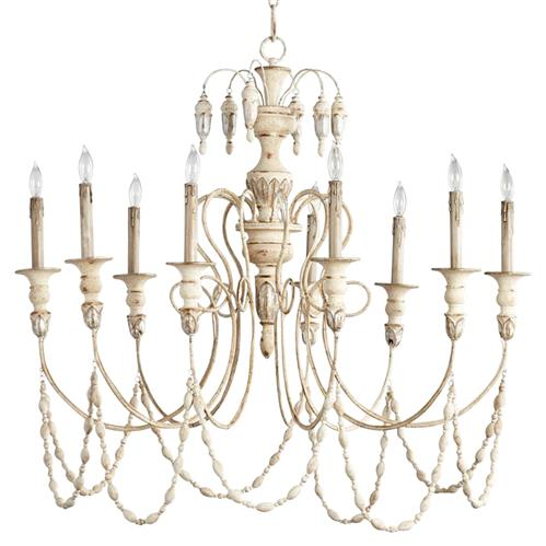 Florent French Country White 9 Light Grand Chandelier | Kathy Kuo Home