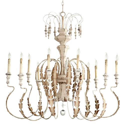 Marion French Country White Washed 10 Light Chandelier | Kathy Kuo Home