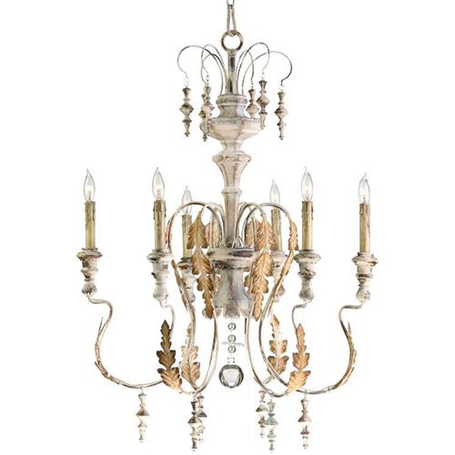Marion French Country White Washed 6 Light Chandelier | Kathy Kuo Home
